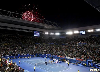 Australia Day firework display at Melbourne Open