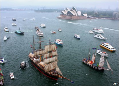 Boat parade through Sydney Harbour