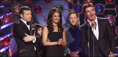 X Factor picks up TV award, Cheryl Cole, Dermot O'Leary, Matt Cardle and Simon Cowell