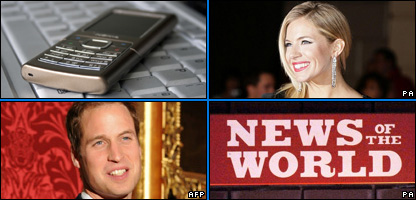 A phone, Sienna Miller, Prince William and News of the World