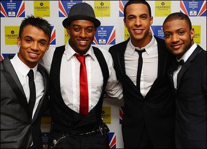 JLS, L-R: Aston, Oritse, Marvin and JB