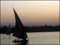 A sailing boat on the River Nile in Egypt