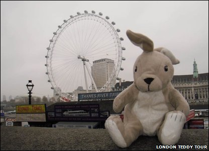 Toy Rabbit in front of the London Eye