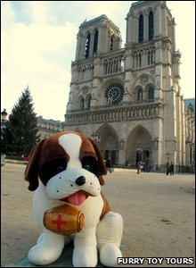 Toy Dog in front of Notre Dame