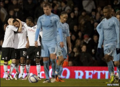 Fulham thrashed Spurs 4-0 in the FA Cup fourth round tie at Craven Cottage.