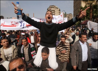 Protesters on the streets of Cairo
