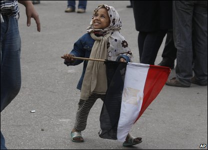 Children are also joining the demonstrations in Egypt