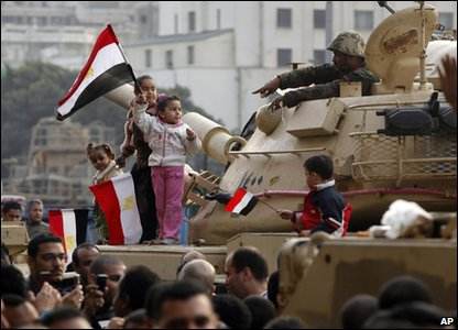 Tanks and demonstrators out in Cairo in Egypt.