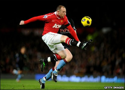 Manchester United v Aston Villa - Wayne Rooney just before scoring his first goal