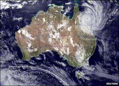 A satellite image showing Cyclone Yasi approaching the coast of Queensland