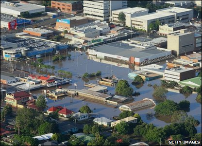 An aerial view of some of the flooding in Brisbane, Queensland, in January