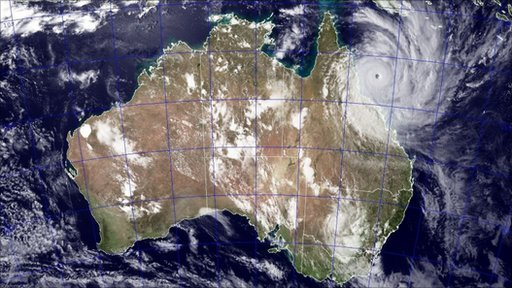 A satellite image of Cyclone Yasi approaching the coast of Australia