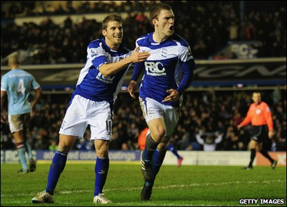Birmingham v Man City - Craig Gardner celebrates his goal