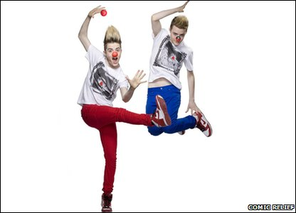 Jedward wearing their red noses