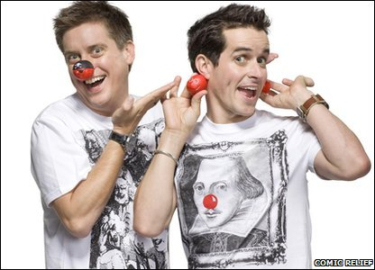 CBBC presenters Dick and Dom show off their red noses.