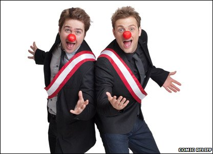 CBBC presenters Sam and Mark with red noses and red sashes
