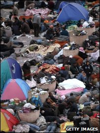 Egypt protests - protesters sleeping in Cairo's Tahrir Square