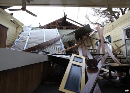 Cyclone Yasi aftermath in Queensland, Australia - library in Cardwell has lost its roof