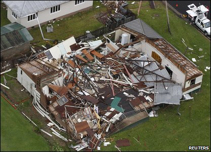 Cyclone Yasi aftermath in Queensland, Australia - house in Tully that's in ruins
