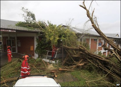 Cyclone Yasi aftermath in Queensland, Australia - tree that's fallen onto a hospital in Tully