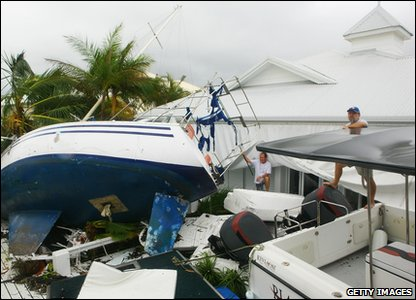 Cyclone Yasi aftermath in Queensland, Australia - boat washed up at Port Hinchinbrook