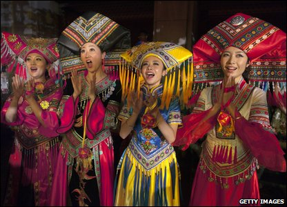 Women in traditional dress in Thailand, Asia, celebrating Chinese New Year