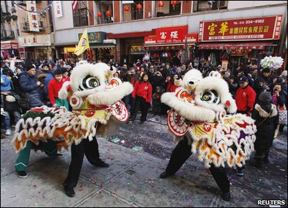 Dragons dancing as part of Chinese New Year celebrations in London.