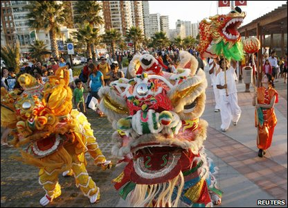 Dragons dancing as part of Chinese New Year celebrations in America.