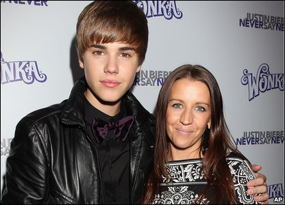 Justin Bieber and his mum at the premiere of his new film, Never Say Never.