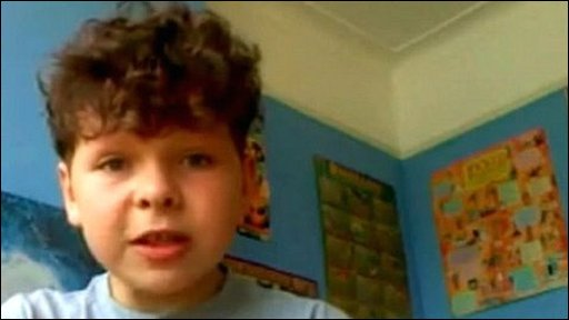 Still from Outnumbered star Daniel Roche's video message about his Facebook impostor