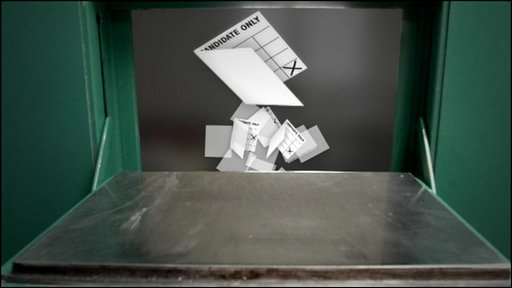 Graphic of ballot papers in prison cell