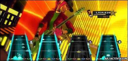 A still from one of the Guitar Hero games