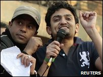 Wael Ghonim speaks to protesters in Cairo's Tahrir Square