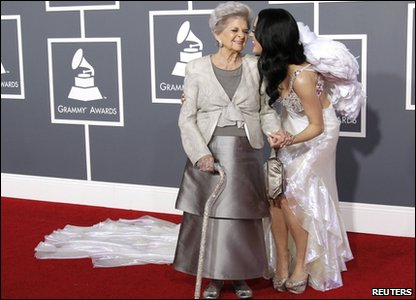 Katy Perry with her grandmother at the 53rd Grammy Awards in America