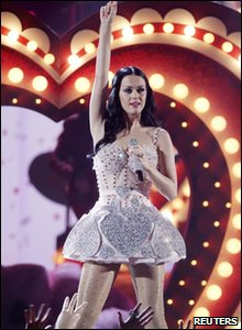 Katy Perry performing at the 53rd Grammy Awards