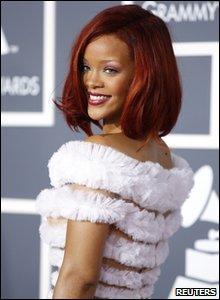 Rihanna arriving at the 53rd Grammy Awards in America