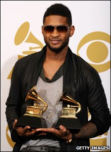 Usher with his two Grammy Awards