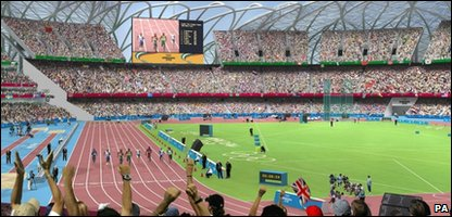 An artist's impression of events going on inside the London 2012 Olympic Stadium