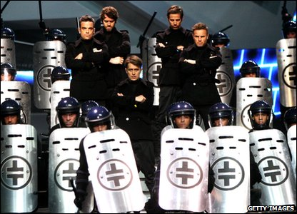 Take That rehearsing for their Brit Awards performance