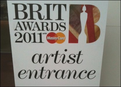 Brit Awards 2011 artist entrance sign