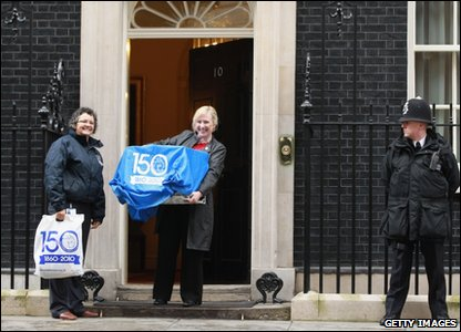 Larry the cat moving into Downing Street in London.