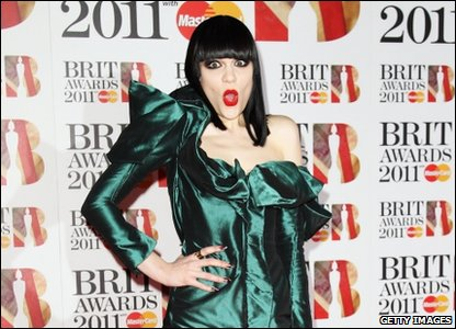 Jessie J arriving at the Brit Awards 2011