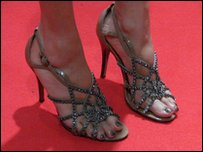 Alesha Dixon's feet on the red carpet at the 2011 Brit Awards at the O2 arena in London