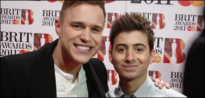Ricky on the red carpet with Olly Murs at the 2011 Brit Awards at London's O2 arena