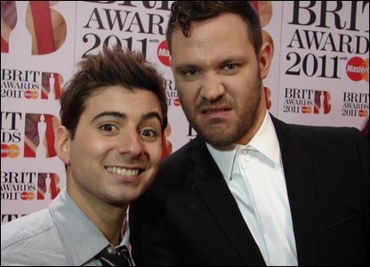 Brits: Will Young pulls a funny face at the camera with Ricky at the Brit Awards 2011