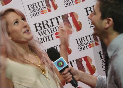 Brits: Singer Ellie Goulding has a laugh with Ricky at the Brit Awards 2011