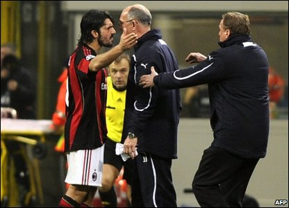 Gennaro Gattuso in an argument with Joe Jordan Spurs Coach