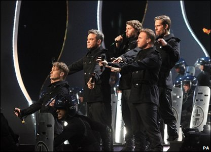 Brits: Take That performing 'Kids' at the Brit Awards 2011