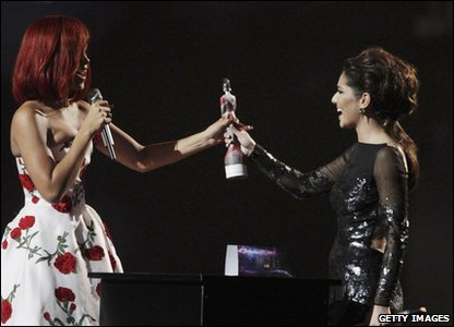 Brits: Cheryl and Rihanna at the Brit Awards 2011