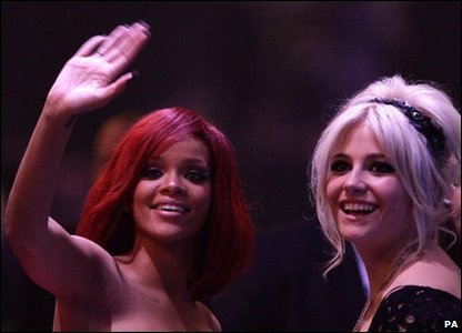 Brits: Pixie Lott and Rihanna at the Brit Awards 2011